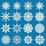 White snowflakes big set of different variations on blue backgro