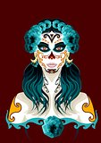 Day of the dead woman portrait illustration