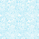 Line Web Development White Seamless Pattern