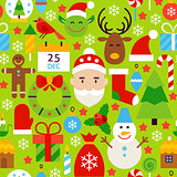 Merry Christmas Green Tile Pattern