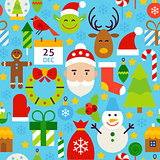 Merry Christmas Blue Tile Pattern
