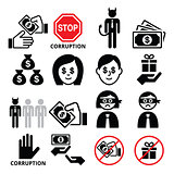 Corruption, no bribes and presents, corrupted businessman icons set