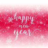 Happy New Year text on snowflake background