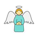 Christmas angel flat line icon