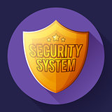 Gold shield icon - protection symbol. Flat design style.