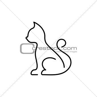 Black vector cat thin line icon