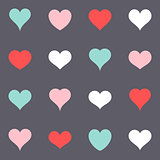 Various simple colorful vector heart icons