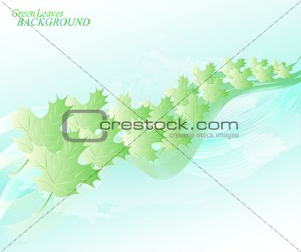 Abstract sky background with lines and leaves. EPS10 vector illustration