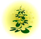 Christmas tree with gold balls on background with snowflakes. EPS10 vector illustration