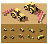 Vector isometric low poly tractor