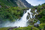 Briksdalsbreen national park waterfall.