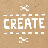Word Create cut out of white paper