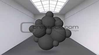 Abstract Creative concept vector background of geometric shapes the lines connected to points in the large Studio room with window. Modern office. Realistic Vector Illustration eps 10 for your design.