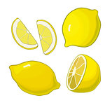 Lemons, four views. Fresh, natural: whole, half, slice, wedge.