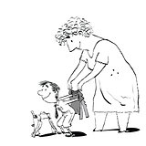 Grandma or the nanny accompanies her grandson to school