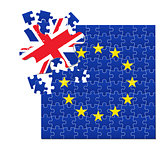 European Union flag divided into jigsaw puzzle BREXIT