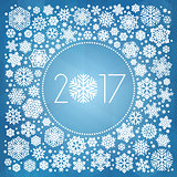 New year 2017 vector illustration with white snowflakes
