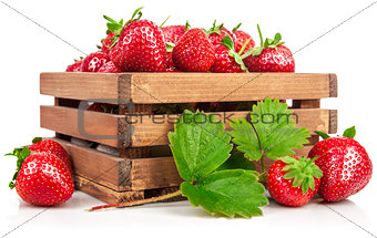 Fresh berries strawberry in wooden box with