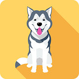 Alaskan Malamute dog icon flat design