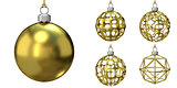 Gold Christmas balls collection. 3D