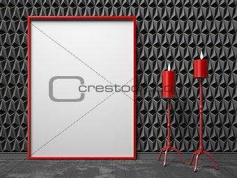 Blank picture frame and two red candlestick on black triangulate