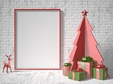 Mock up blank picture frame, Christmas tree decoration and gifts