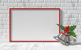 Mock-up red canvas frame, Christmas bells and brick wall. 3D