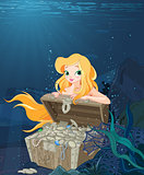 Cute Mermaid Over a Treasure Chest