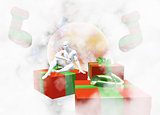 Christmas New Year colorful red and green gift boxes with bows of ribbons and sitting man elf figure on background of colorful balls decorations . Greeting card with holiday tinsel. 3d illustration