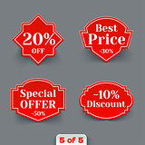 Vector Set of Red Sale Paper Retro Labels.
