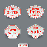 Vector Set of Sale Paper Retro Labels.