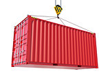 Service delivery - red cargo container