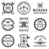 Set of drone logos, badges, emblems and design elements.