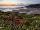 Evening ocean Odeceixe beach (Algarve, Portugal).