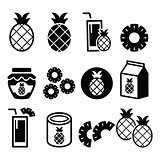 Pineapple fruit, pineapple slices, juice vector icons set