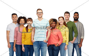 international group of happy smiling people