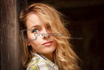 Portrait of Dreamy Romantic Hipster Girl Outdoors