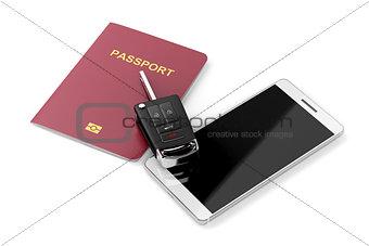 Smartphone, passport and car key