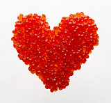Heart made of red caviar