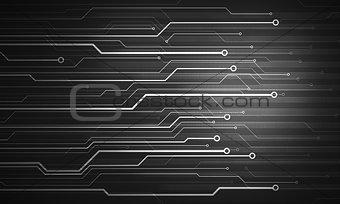 Black white futuristic conceptual image microchip background