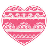 Valentine's Day design - Mehndi heart, Indian Henna tattoo pattern