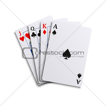 Four poker playing different cards hand together