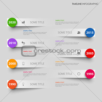 Time line info graphic with grey stripes above another