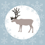 Christmas card reindeer blue