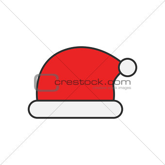 Santa Claus hat flat line icon