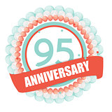 Cute Template 95 Years Anniversary with Balloons and Ribbon Vect