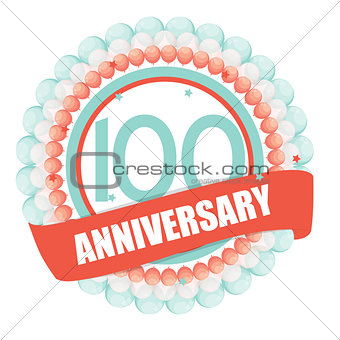 Cute Template 100 Years Anniversary with Balloons and Ribbon Vec
