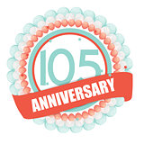 Cute Template 105 Years Anniversary with Balloons and Ribbon Vec