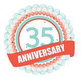 Cute Template 35 Years Anniversary with Balloons and Ribbon Vect