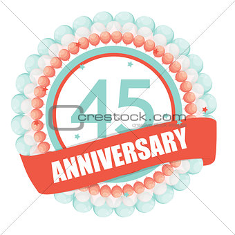 Cute Template 45 Years Anniversary with Balloons and Ribbon Vect